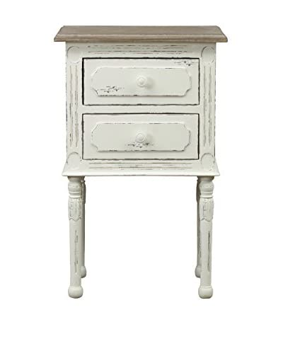 Baxton Studio Anjou Traditional French Accent Nightstand, White/Light Brown