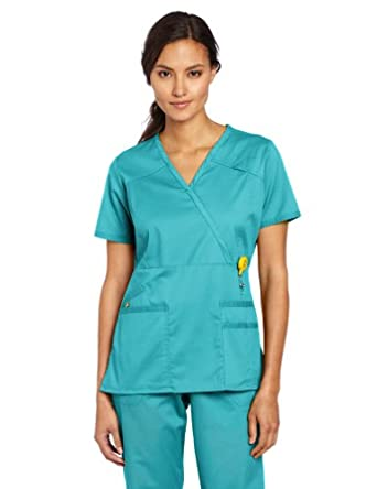 WonderWink Women's Scrubs Utility Girl Stretch Y-Neck Multi Pocket Top, Aqua, X-Small