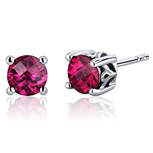 Scroll Design 2.00 Carats Ruby Round Cut Stud Earrings in Sterling Silver Rhodium Nickel Finish by Peora