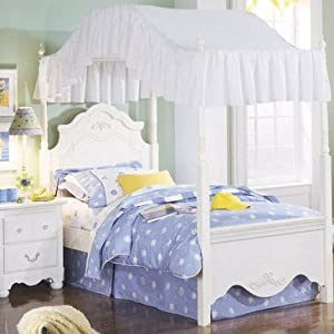 Standard furniture diana canopy bed in white for Diana bedroom set