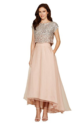 Keting Women s Jewel Sequins Top Cap Sleeves High Low Two Piece Prom Dress  Champagne US6 ab16eafb4aa3