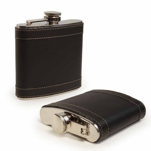 E-Volve Hip flask - 6 oz - Stainless Steel & Traditional Genuine Leather - Black