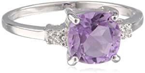 Sterling Silver, Cushion-Cut Amethyst, and White Quartz Ring, Size 6