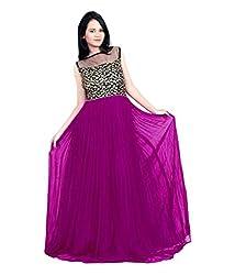 Vadaliya Enterprise Women's Embroidered Purple Gown