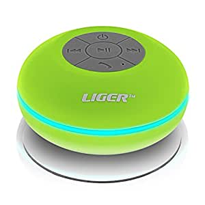Liger® Waterproof Wireless Bluetooth Shower Speaker & Hands-Free Speakerphone Compatible with all Bluetooth Devices, iPhone 5s Siri and All Android devices (Green)