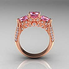 buy Jacob Alex Ring Size6 Pink Sapphire Cz Inlay Gem Wedding/Engagement Ring 10Kt Rose Gold Filled