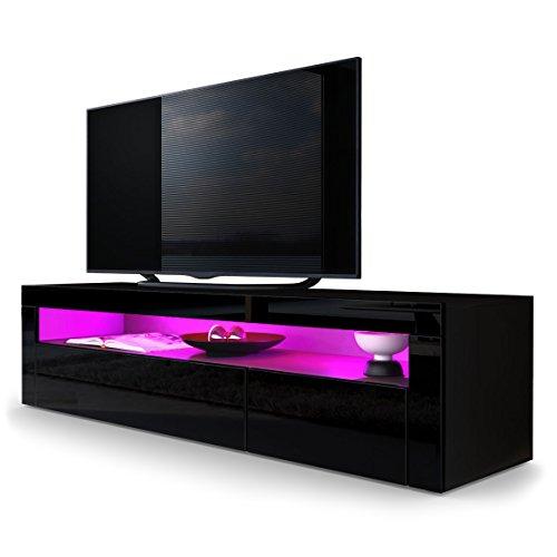 TV-Board-Lowboard-Valencia-Korpus-in-Schwarz-matt-Front-in-Schwarz-Hochglanz-mit-Rahmen-in-Schwarz-Hochglanz