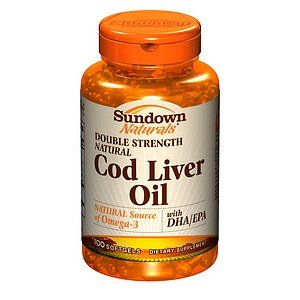 Sundown Naturals Double Strength Natural Cod Liver Oil With Dha/Epa, Softgels 100 Ea