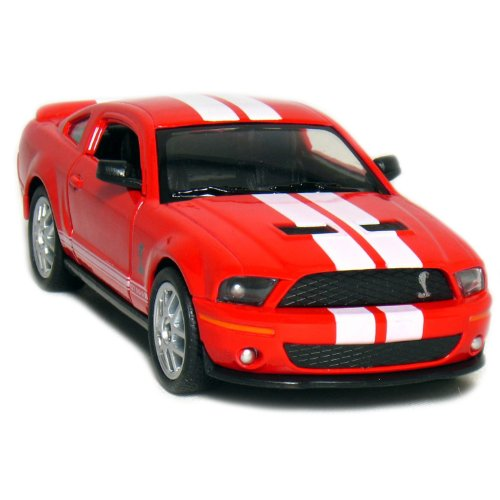 "5"" 2007 Shelby GT500 1:38 Scale (Red/White Stripes) - 1"