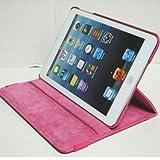 iPad mini ケース/アイパッド ミニ/スタンドC型/合皮製/牛皮模様/モニター回転式/ピンク/桃色