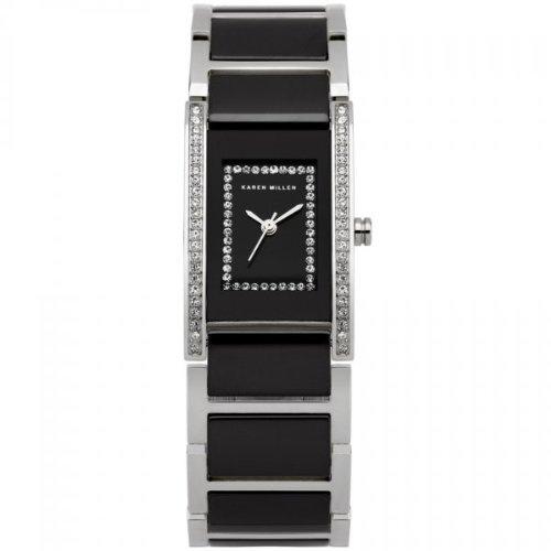 Karen Millen K120 Ladies All Silver Black Stones Watch