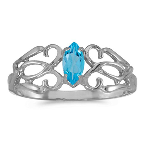 0.23 Carat Ctw 10K Gold Marquise Blue Topaz Solitaire Filigree Design Antique Engagement Fashion Ring - White-Gold, Size 7