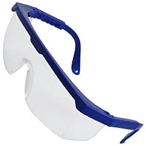 Workshop Clear Plastic Lens Blue Arm Shielded Goggles Glasses