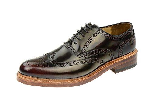 Gordon & Bros Levet 2506S, cornice margini uomo Business scarpe./ Laccio semi scarpe, (Derby/Brogue) in pelle con suola, Rosso (Borgogna), 42