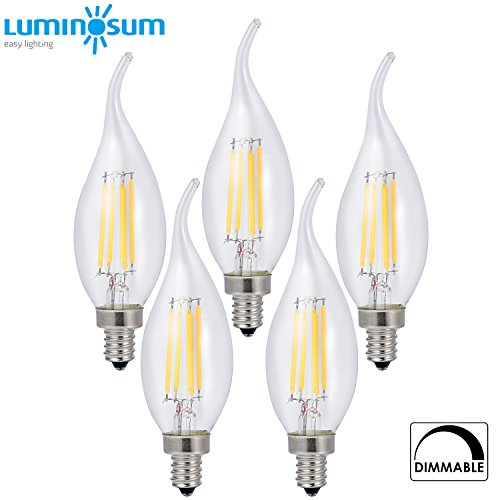 LUMINOSUM LED Candelabra Bulb 4W Dimmable, 40W Equivalent, Classic Edison style C35T Flame Tip, E12 Base, Soft White 2700K, 5-Pack (Dimmable Led Candelabra Bulb compare prices)