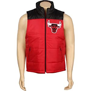 Chicago Bulls Mitchell & Ness NBA Winning Team Throwback Snap Vest Jacket - Red by Mitchell & Ness