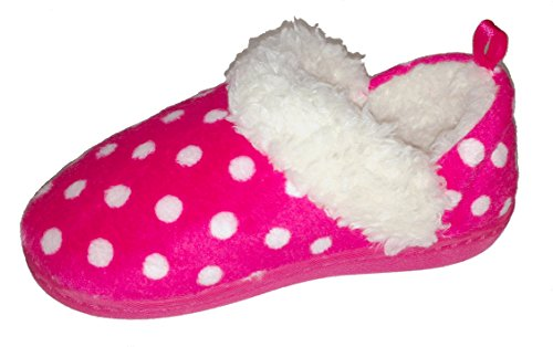 Girls Pink and White Polka-Dot Warm Winter Slipper, Toddler Small (5-6)