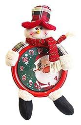 EOZY Lovely Santa Christmas Electronic Clock Snowman Wall Clock Reindeer Bracket Clocks Red 2