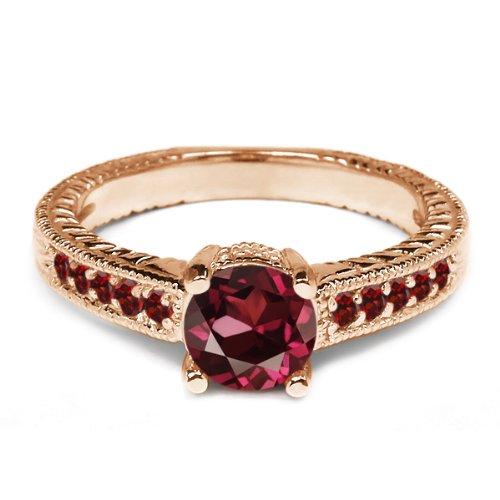 0.32 Ct Round Red Rhodolite Garnet Garnet 925 Rose Gold Plated Silver Ring