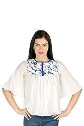 Aaliya Woman's Polyester crepeTops- White-L