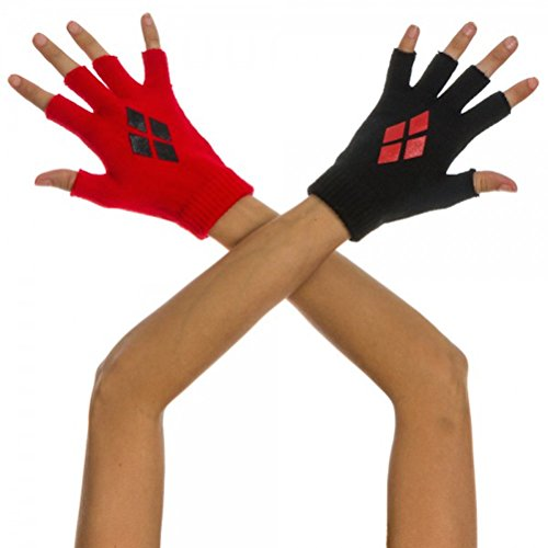 Harley Quinn Red and Black Knit Fingerless Gloves Costume Accessory