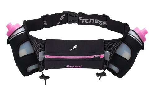 iFitness Inc iFitness 12-OZ Hydration Belt, Black/Pink, Small/Medium