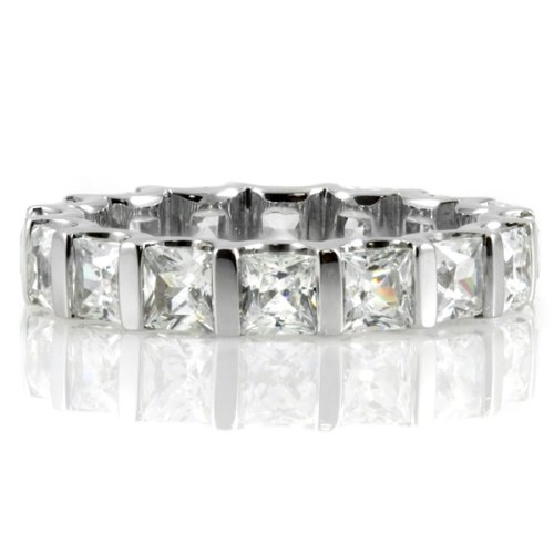 Terri's Princess Cut CZ Eternity Band - Silver .925 sterling silver jewelry, rhodium electroplated Size 7