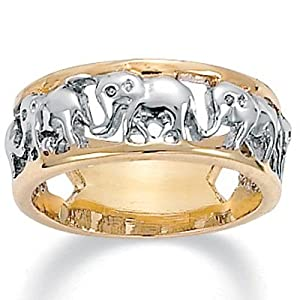 PalmBeach Jewelry 14k Yellow Gold-Plated Two-Tone Elephant Caravan Ring