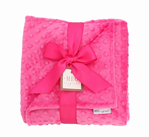 MEG Original Hot Pink Minky Dot Baby Girl Blanket 317 - 1
