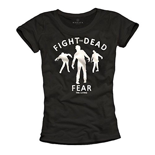 Magliette zombie donna FEAR THE LIVING T-shirt Walking Dead nera M