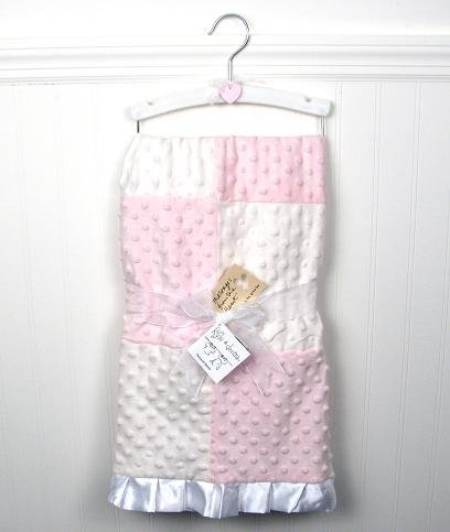 New Boutique Pink Girl Minky Dot Chenille Baby Blankets Free Shipping!
