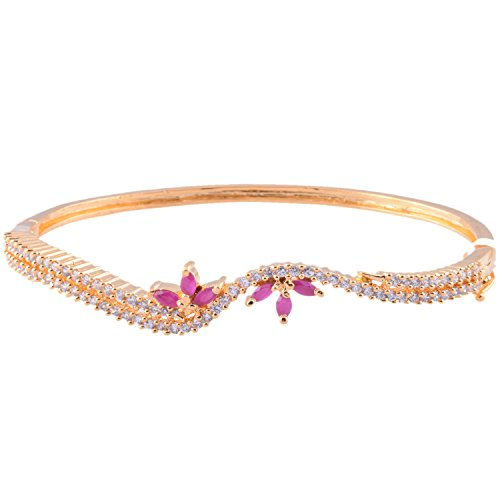 Ganapathy Gems 1 Gram Gold Plated Bracelet With White CZ And Pink CZ - B00TLK8VAQ