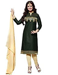 Ethnic For You Dark Green And Cream Cotton Top Embroidered Work With Border Unstiched Dress Material