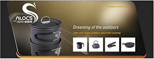 2-3 Person 2Pcs Hard Camping Cookset Camping Cookware 600G 1.4L For Pot 6.5 Inch For Fly Pan front-423867