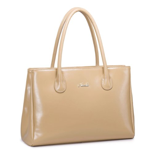 Nucelle First Lady Series Women'S Genuine Leather Style Classic Fashion Top Handle Top Zipper Handbag (Beige)