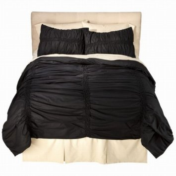 xhilaration-full-queen-bed-coverlet-coal-black-ruched-comforter-bedspread-cover