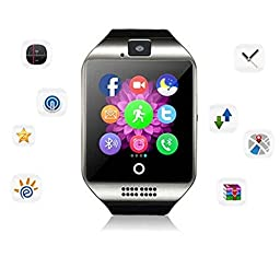 WFS Multifunctional Smart Watch Wrist Watch Phone with Camera NFC Support SIM Card pedometer sleep monitoring Touch-screen mode for Android and IOS ( Silver )