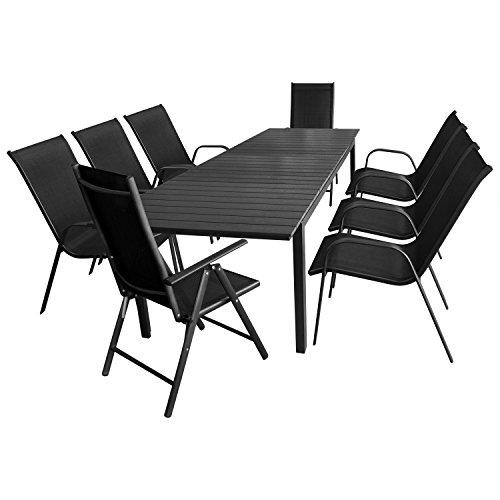 9tlg-Sitzgarnitur-Sitzgruppe-Gartengarnitur-Gartenmbel-Terrassenmbel-Set-Ausziehtisch-Polywood-280220x95cm-6x-Stapelstuhl-2x-Hochlehner-Lehne-7-fach-verstellbar