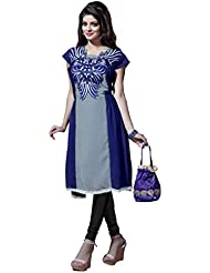 Grey Georgette Designer Embroidered Kurti