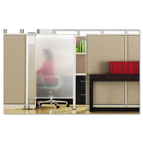 """Quartet Products - Quartet - Premium Workstation Privacy Screen, 38w x 65h, Translucent Clear - Sold As 1 Each - Transform modular office spaces into productive, distraction-free work areas. - Ultra-lightweight, translucent plastic screen open and close to block interruptions. - The top and bottom mounting clamp with floor-base wheels increase stability for long lasting use. - Mount to 65"""" standard cubicle walls, measuring 1 ¼"""" to 3 ¼"""" thick. - Includes 4"""" extenders to increase privacy heig"""