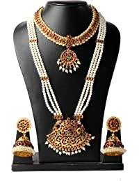 INDIAN TRADITIONAL NECKLACE SET / JEWELLERY SET KEMP NECKLACE , PEARL HAARAM JUMKHI SETS WEDDING FOR WOMEN BY...
