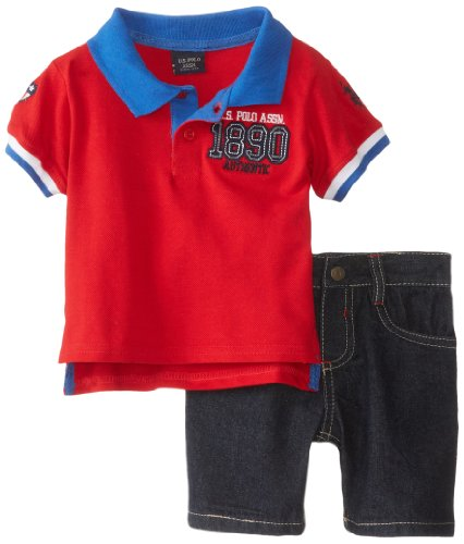 U.S. Polo Assn. Baby-Boys Infant 2 Piece 1890 Pique Polo And Denim Short Set, Red, 12 Months