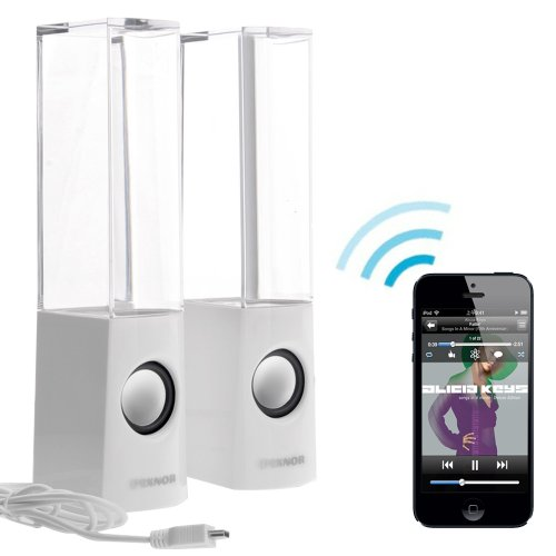 Pixnor Wireless Bluetooth Colorful Led Fountain Dancing Water Mini Speakers For Iphone Ipad Cellphone Pc (White)