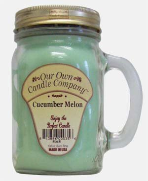13 oz CUCUMBER MELON Scented Jar Candle (Our Own Candle Company Brand) Made in USA - 100 hr burn time