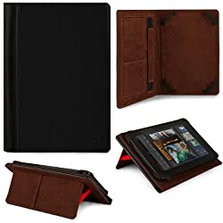 VG 2 Tone Leatherette Standing Case with Intricate Stitching and Pull Out Stand for Asus Transformer Pad TF300 / TF300T 10.1-inch Android Touch Screen Tablet