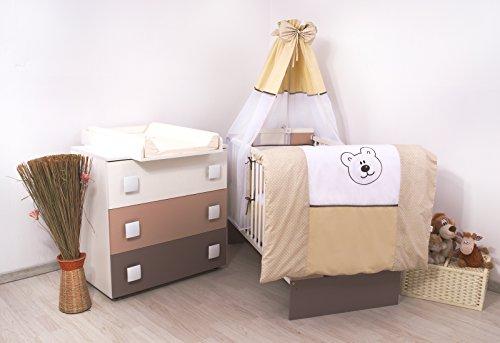 15Tlg-Kinderzimmer-Wickelkommode-Babybett-voll-Ausstattung-Teddybr
