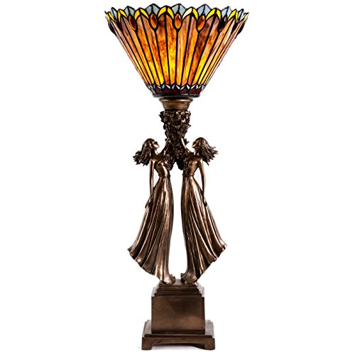 River of Goods 27-Inch Art Deco Tiffany Style Stained Glass Table Top Torchiere with Figural Base (Tabletop Torchiere compare prices)