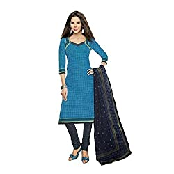 Stylish Girls Women Cotton Printed Unstitched Dress Material (SG219_Blue_Free size)