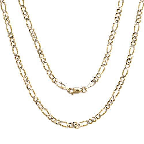 "24"" Figaro Chain Necklace W/ White Pave - 10K Two-Tone Gold - 0.13 Inch (3.2Mm)"