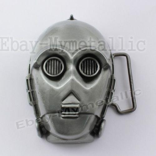 [Movie Star Wars Robot C-3PO Mask Removable Metal Belt Buckle] (C3po Mask)